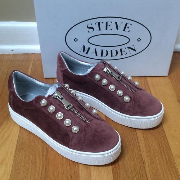 948350ff3c9 💕STEVE MADDEN Lynn Suede Platform Beaded Sneakers